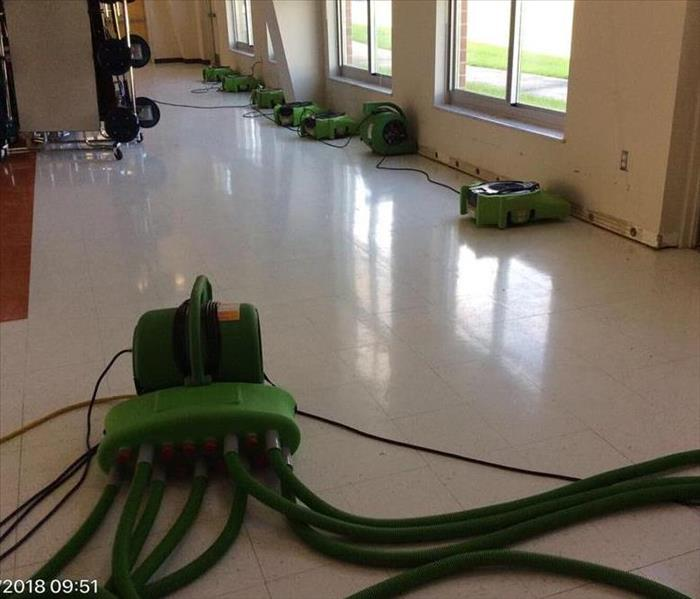Elementary Cafeteria flood with drying equipment